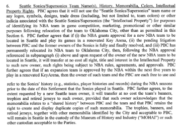 Paragraph 6 Seattle Sonics Agreement